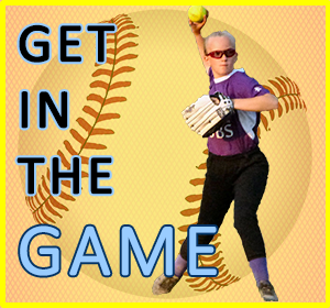 Graphic for Get in the Game showing female softball player