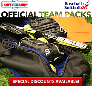 Advert for team equipment packs from The Softball Shop