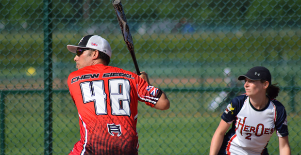 Batter and catcher in Slowpitch Softball