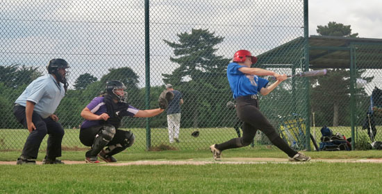 Jade Yerex hitting inside-the-park home run