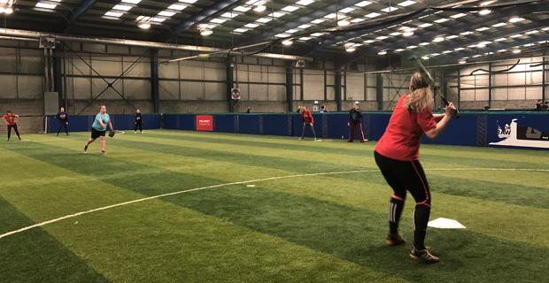 Indoor Softball Action