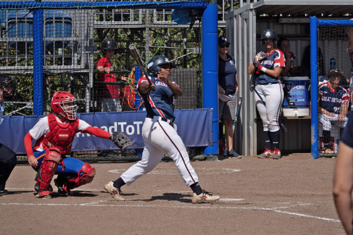 GB Women's Fastpitch Team batter swinging